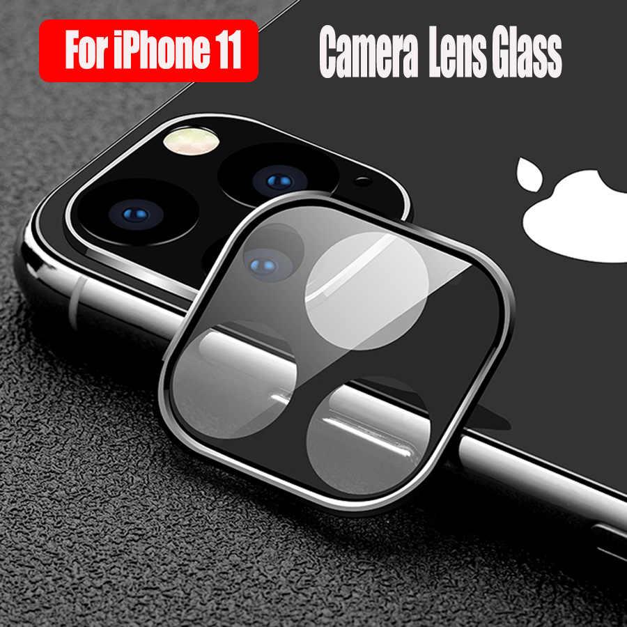 מתכת מסגרת + מזג זכוכית חזרה מלא כיסוי מצלמה עדשת טבעת עבור iPhone 11 פרו מקסימום מסך מגן הגנה אחורית טבעת מקרה