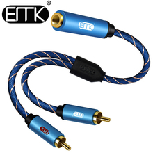 EMK 3.5mm Female to 2 RCA Male Stereo Audio Cable Gold Plated for Smartphones, MP3, Tablets, Home Theater