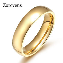 ZORCVENS Hot Stainless Steel Rose Gold Anti-allergy Smooth Simple Wedding Couples Rings for Man Woman Gift(China)