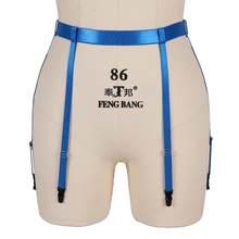 Bas jarretelles avec ceinture Cage, bleu, bretelles élastiques aux cuisses, Sexy, Bandage, harnais, taille, Lingerie Punk, gothique