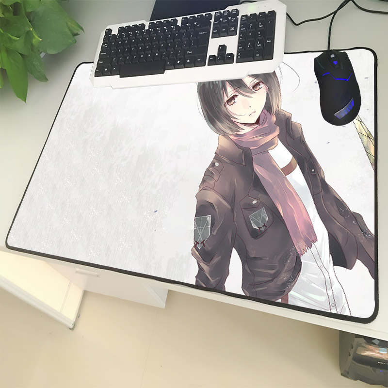 XGZ Cartoon Large Size Mouse Pad Locking Attack on Titan Pretty Actress Ackerman Laptop PC Mat Rubber Universal Non-slip