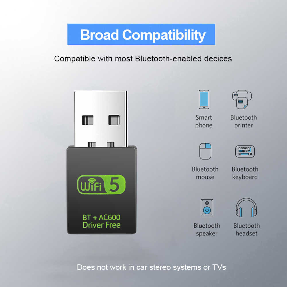 USB WiFi Adapter Receiver 600Mbps 2.4G Bluetooth V4.0 Network Card Wireless WiFi Bluetooth Adapter Transmitter IEEE 802.11b/g/n