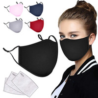 Anti-dust Black Mouth Mask Unisex Cotton Face Mask Anime Mask For Cycling Camp Mouth Cover Washable Reusable Mouth Mask