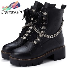 DORATASIA new 34-43 women's black booties ladies genuine leather platform boots women 2019 girl cool decorating shoes woman(China)