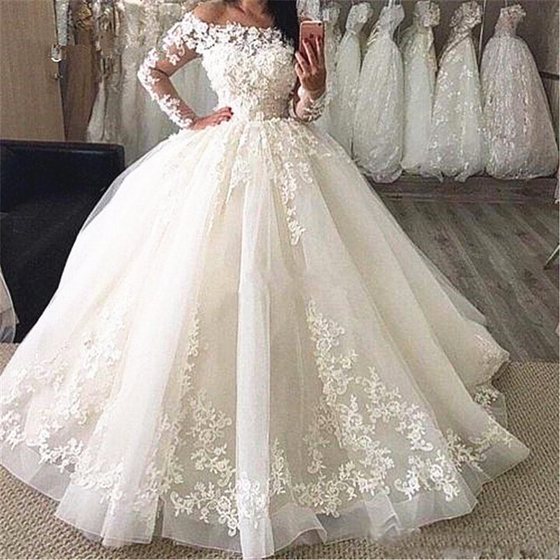 Princess Ball Gown Vintage Classic Wedding Dresses Long Sleeve Off Shoulder Floral Appliques Lace Floor Length Bridal Gowns Wedding Dresses Aliexpress