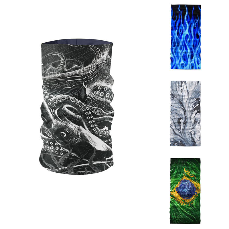 Novelty 3D Print Art Ring Scarf Women Magic Headscarf Sports Mask Headdress Microfiber Seamless Tubular Hijab Scarfs For Ladies
