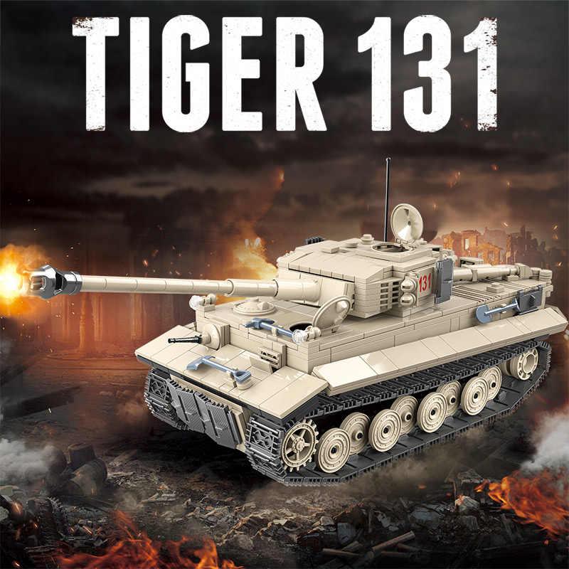1018 Pcs Military German Tiger 131 Tank Building Blocks legoingly Army WW2 Soldier Weapon Bricks Kits Education Toys for Boys