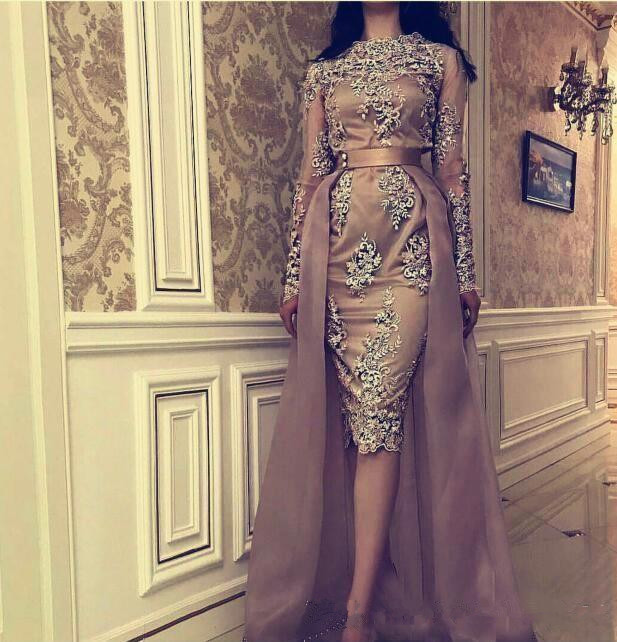 2020 Cheap Prom Dresses Long Sleeves Lace Appliques Beaded Knee Length With Tulle Over Skirts Formal Pageant Gowns