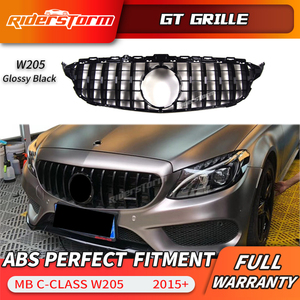 Image 4 - Gt grille For W205 Front GTR Grill for Mercedes Benz W205 c180 c200 c250 c300 c43 2015+ Grille 2019 front racing grille