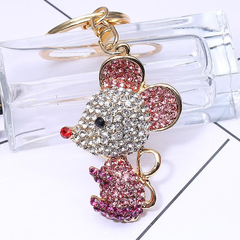 Luxury Mouse Key Chain & Key Ring Holder Cute Crystal Rat Keyring Porte Clef Gift Men Women Souvenirs Bag Pendant Car Ornament