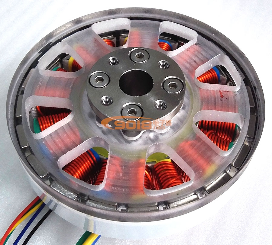 200W Disc DC Brushless Motor Flat Direct Drive Hollow Shaft Torque Motor Inductive With Hall