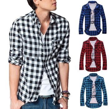 Men 's Loose Plaid Shirt Casual Jacket Student Shirt Plaid Long Sleeve Shirt Spring And Autumn Loose Color Matching Male Shirts фото