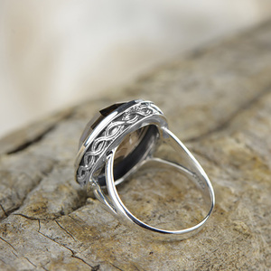 Image 2 - Real Pure Ring 925 Sterling Silver Smoky Quartz Antique Exaggerate Rings For Women Faceted Natural Stone Fine Jewelry Anillos