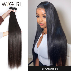 Wigirl Straight 8 - 28 30 32 40 Inch Long Remy Indian Human Hair Weave 1 3 4 5 Bundles Deal Double Drawn 100% Natural(China)