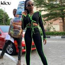 Kliou v-neck bandage long sleeve striped neon crop top sling sporty leggings ribbed matching set stretchy skinny slim streetwear