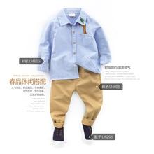 Осенняя новая стильная детская рубашка детская Базовая рубашка с длинными рукавами для маленьких мальчиков
