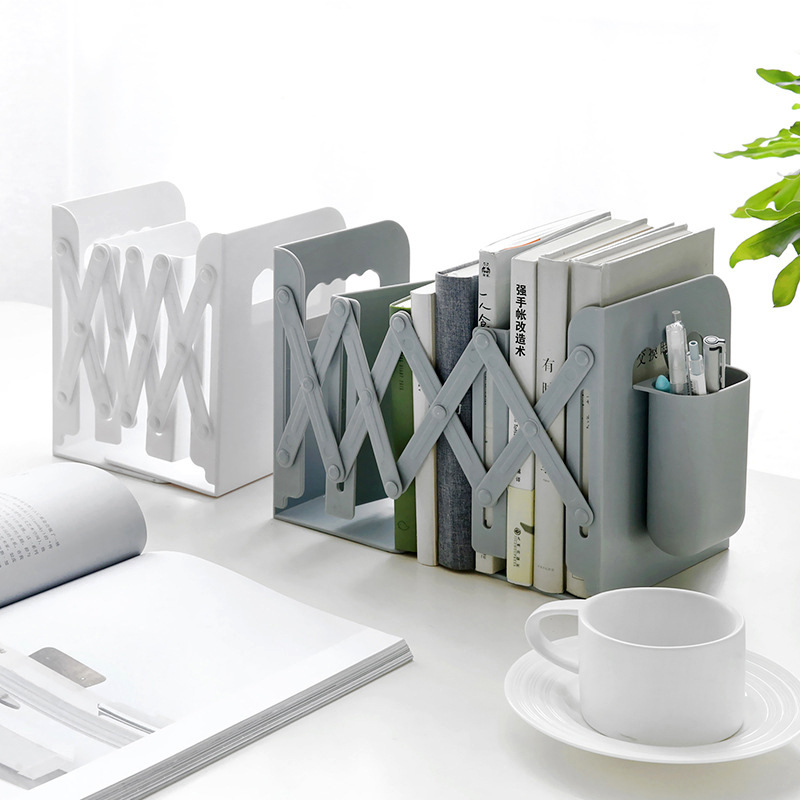 Retractable Book Stand With Pen Holder Creative Student Use Bookshelf Folding Storage Desk Organizer Office Accessories