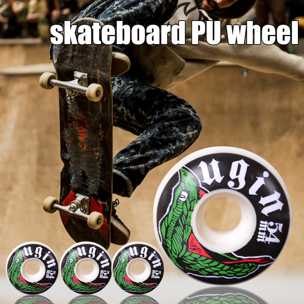 4Pcs Skateboard Wheels Durable PU Leather Smooth Tire Easy Install Replacement Bearing High Hardness Skateboard Wheel