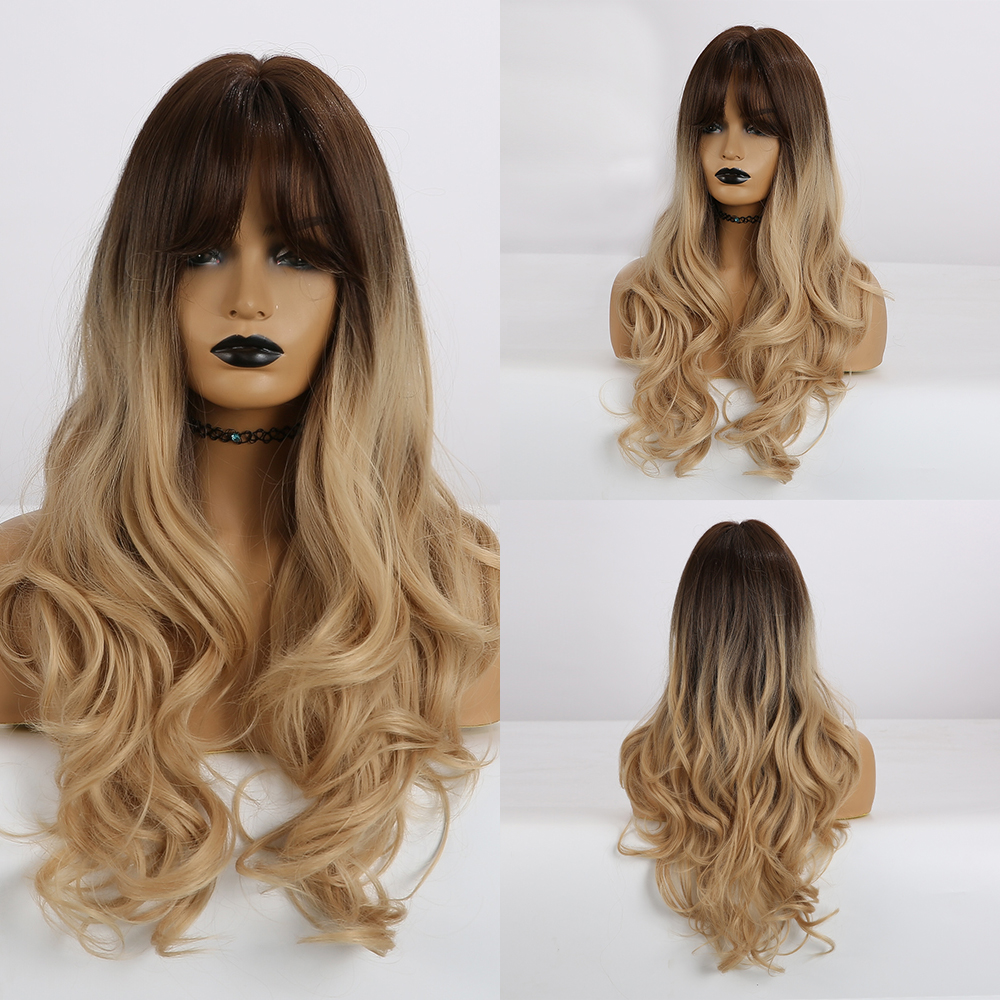 Image 4 - EASIHAIR Long Blonde Wavy Synthetic Wigs for Women Wigs with Bangs High Density Natural Cosplay Wigs Brown Ombre Heat ResistantSynthetic None-Lace  Wigs   -