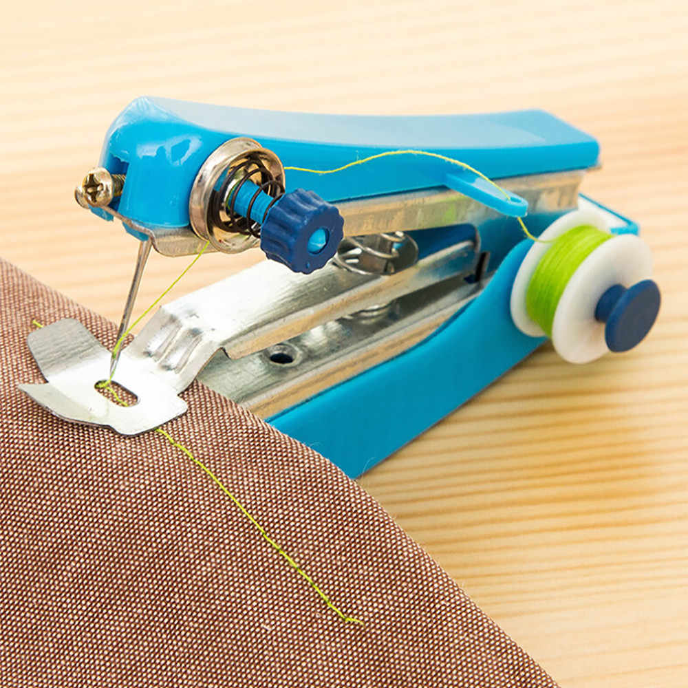 1PC Hot Sale Mini Portable Needlework Cordless Mini Hand-Held Clothes Fabrics Sewing Machine Sewing Tools L*5