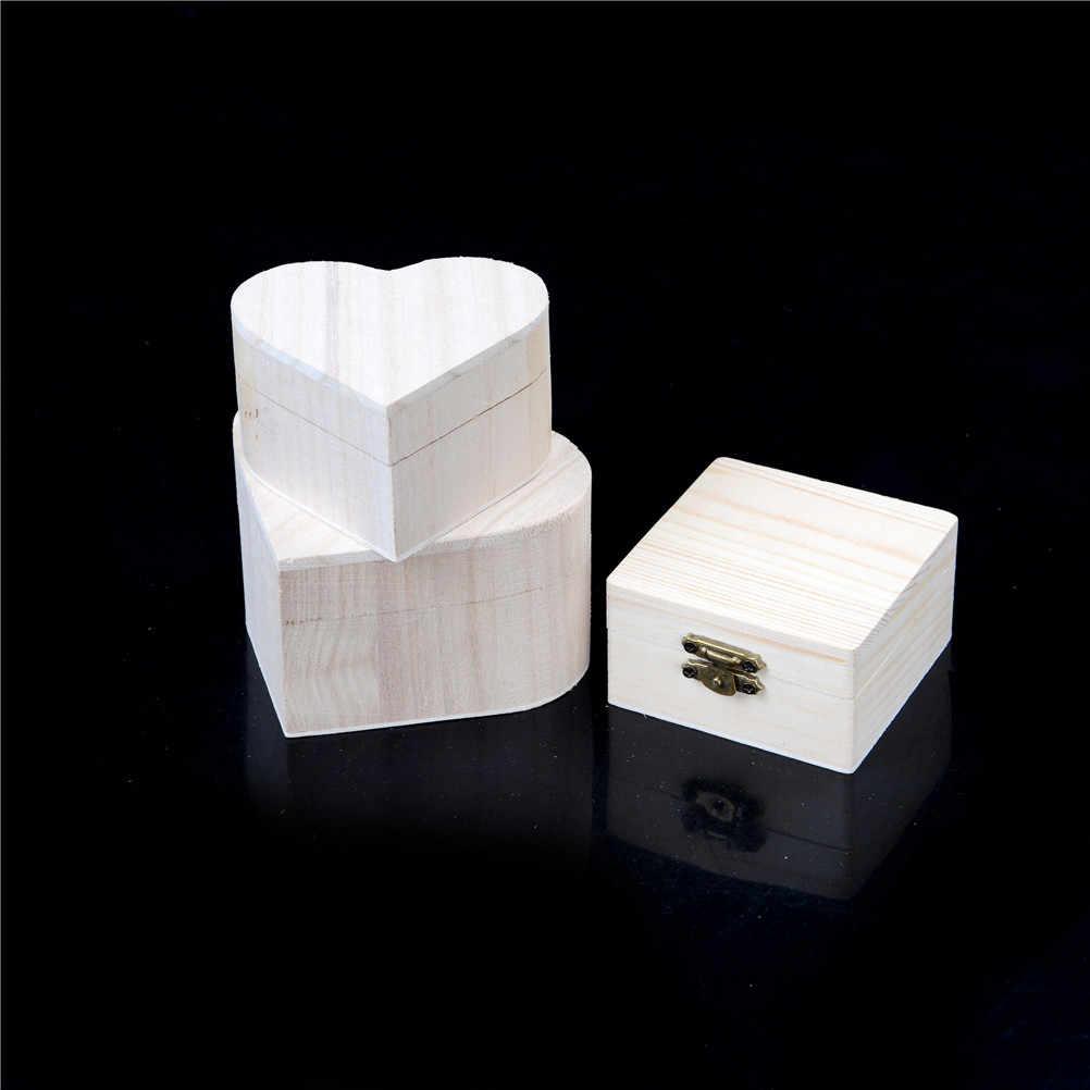 Kształt drewniane pudełko na biżuterię prezent ślubny Organizer na kosmetyki Bin kolczyki pierścień organizator przenośne drewniane pudełka do przechowywania serca