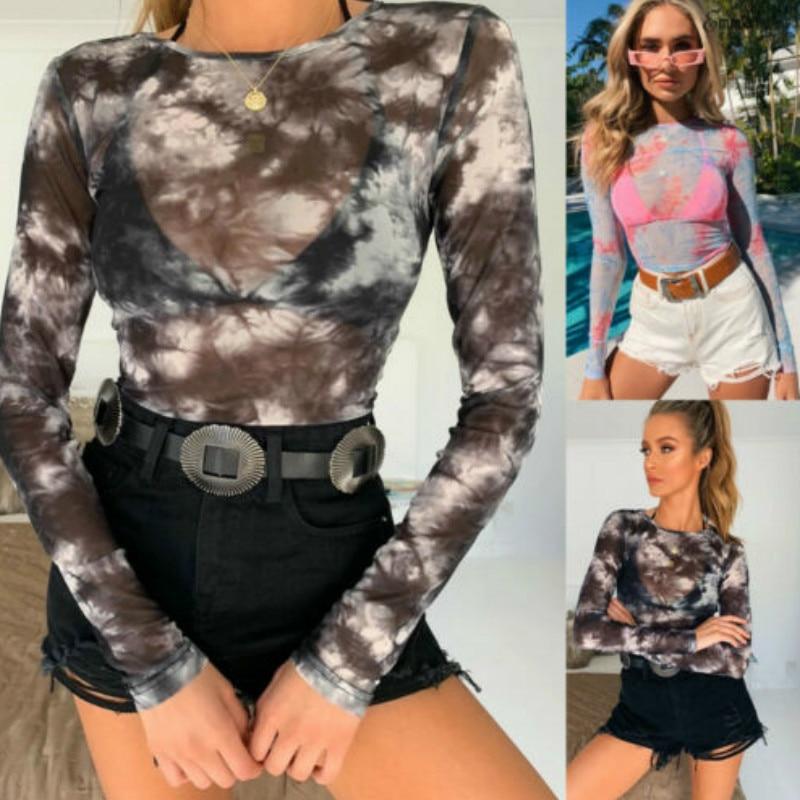 Women Fashion Long Sleeve O-neck Shirt 2019 Autumn Transparent Blouse Slim Casual Tops Female