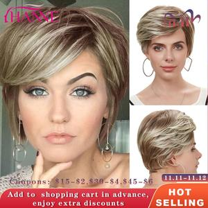 Image 1 - Hanne mix peruca de cabelo sintético, perucas de cabelo sintético, marrom e loiro, alta temperatura, resistente ao calor, peruca afroamericana curta
