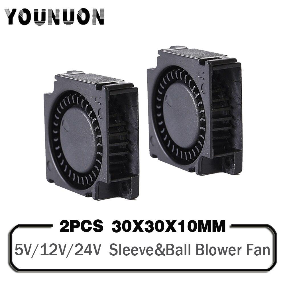 Мини-вентилятор для охлаждения, 2 шт., 5 в пост. Тока, 12 В, 24 В, 30x30x10 мм, рукав с двойным шариком, 1 дюйм, маленький, 30 мм x 10 мм, 3 см, 3010, 3D принтер