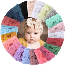 Infant Baby Toddler Kids Girl Large Bow Headband Hair Band Headwear Head Wrap Cotton Stretch Princess Cute Solid Lovely 1pc soft lovely kids girl cute star headband cotton headwear hairband headwear hair band accessories 0 3y hot