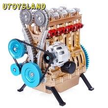 Alle Metall Auto Mini Montieren Inline Vier Zylinder Auto Motor Modell Spielzeug Modell Kits Puzzle Spielzeug Für Erwachsene spleißen Hobby Gebäude