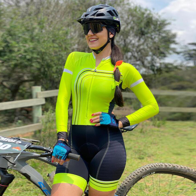 Kafitt PPro Team Triathlon de manga comprida macacão feminino em malha de ciclismo Maillot Cycling Wear Ropa ciclismo Gel Pad 1