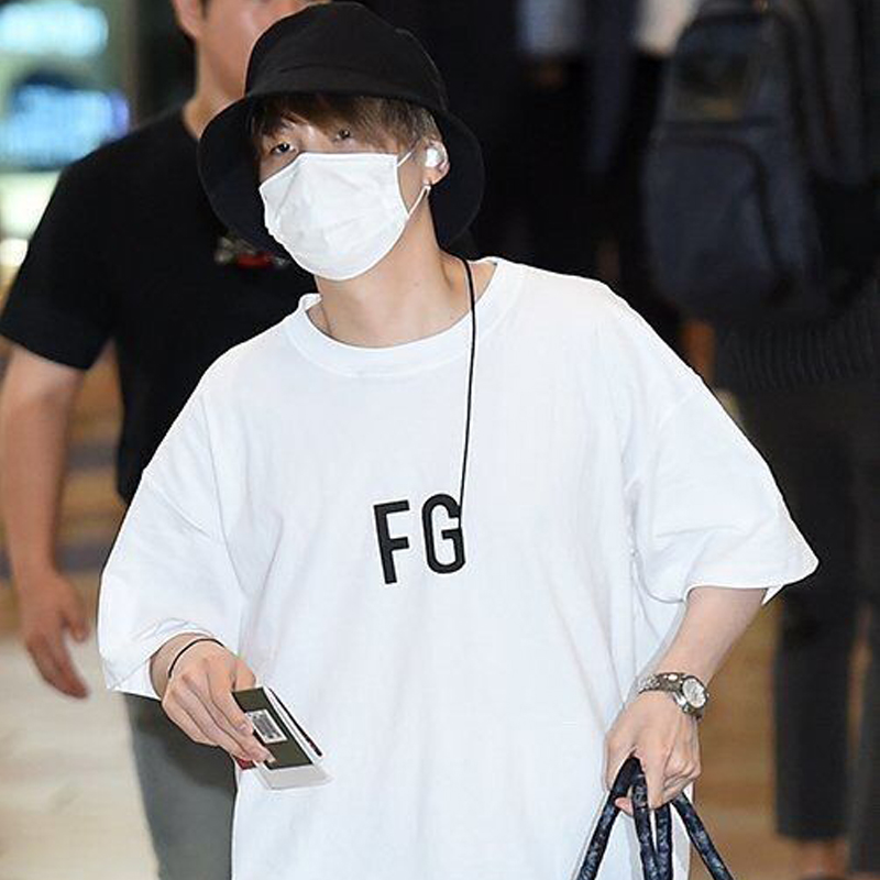 FRDUN TOMMY FG FRER OF <font><b>GOD</b></font> Min Yoon-gi T-<font><b>shirt</b></font> SG Letter Couple Short Sleeve FG T-<font><b>Shirt</b></font> White Cotton Summer Round Collar T-<font><b>shirt</b></font> image