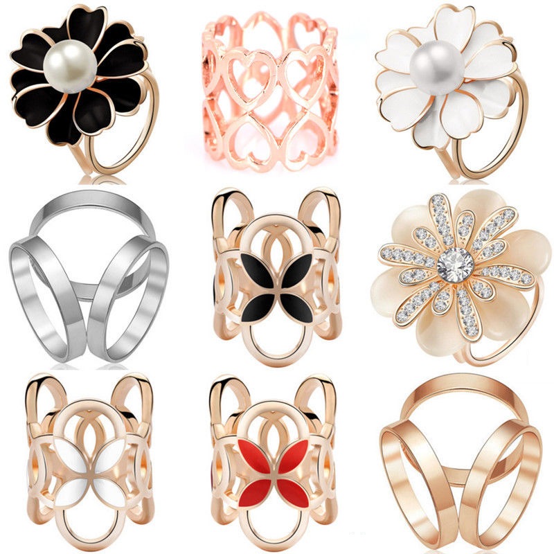 1pcs Rhinestone Women Scarf Ring Clip Buckle Scarf Holder Ladies Party Jewelry Accessory Gift