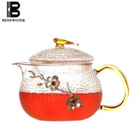 550ml Thicken Heat Resistant Transparent Glass Teapot Plum Flower Decoration Kung Fu Tea Pot Kettle Lemon Flower Teapots