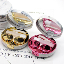 1Pcs Unisex Marble Stripe Lens Container Round Mirror Cover Mini Plastic Colorful Reflective Travel Holder Storage