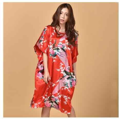 Artı boyutu siyah kadın yaz salonu bornoz bayan yeni seksi ev elbise Rayon gecelik büyük gevşek pijama bornoz elbisesi S002-B