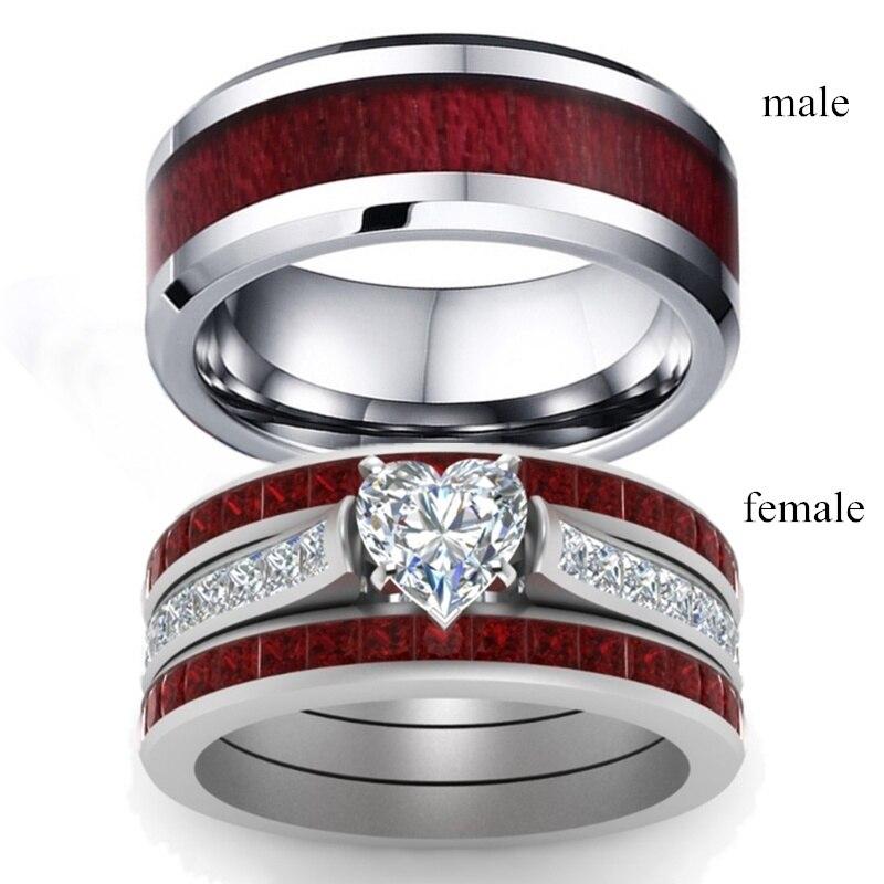 Moda Anillo Diamantes de Imitación de Cristal Regalo de Joyería para Pareja