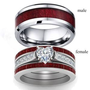Couple Rings Crystal Wedding-Gift Stainless-Steel Rhinestones Romantic Vintage Fashion