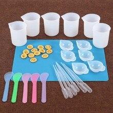 Reutilizável kit de resina de silicone antiaderente esteira de silicone 100ml copos de medição dedo berços resina mix copo agitar vara pipeta ferramenta