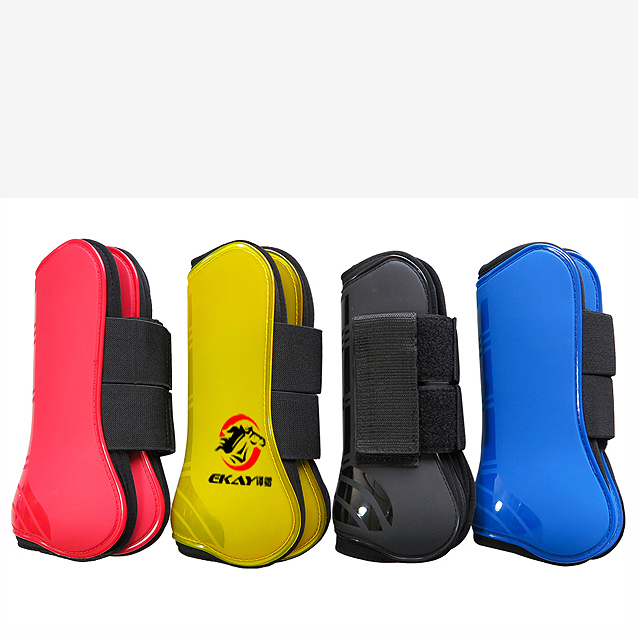 1pair Front Hind Leg Boots Horse Neoprene Tendon Boots PU Shell Horse Jumping Protection Front Boots