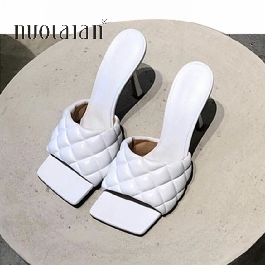 2020 New Design Square Toe Thin High Heels Slippers Women Sandals Fashion Slip On Slides Summer Woman Shoes Mules