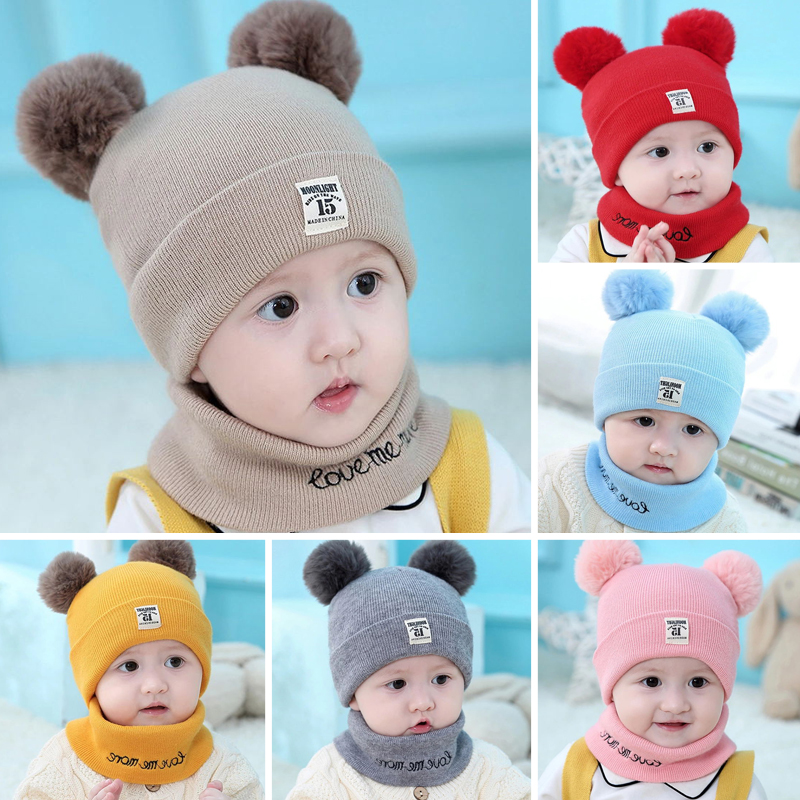 Cute Baby Kids Cap Winter Warm Beanies Cap Unisex Child Boys Girls Hat And Scarf Suit Set Solid Stripe Hats