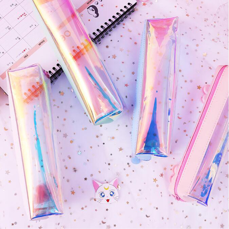 Waterproof Laser Transparent Laser Pencil Case For Girls Cute Pen Pouch Stationery Pencil Bags School Office Supplies