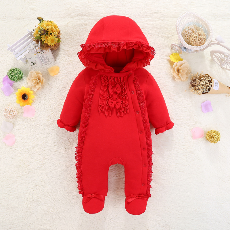 New Born Baby Girl Clothes 0-3 Months Cotton Newborn Baby Girl Clothes 2019 Winter Hooded Baby Romper Warm Thick Outfit Jumpsuit