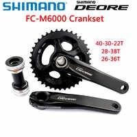 Shimano DEORE FC M6000 mechanizm korbowy hollowtech ii M6000 2x10 3x10-Speed mechanizm korbowy z BB52 40-30-22T 28-38T 170MM części do roweru górskiego
