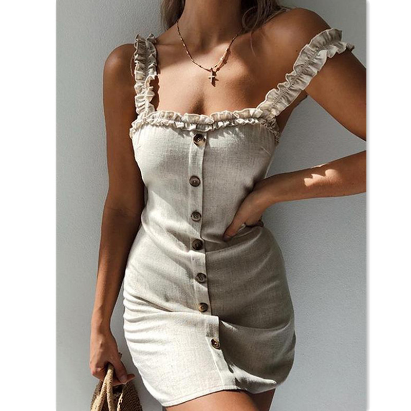 Summer Dresses 2019 New Women Casual Solid Sleeveless Square Collar Single Button Slim Mini Dress