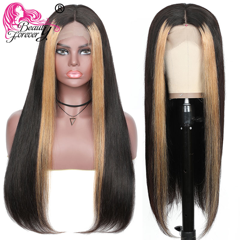 Beauty Forever 13*4 Lace Front Wigs Pre Plucked Brazilian Highlight Straight Remy Human Hair Wigs 8-24inch 150% 180% Density