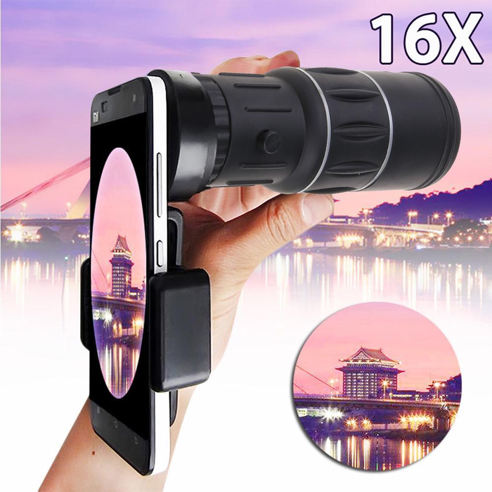 16x52 Zoom Wandern Monocular Teleskop Objektiv Kamera Nachtsicht HD Scope Jagd Telefon Clip Halter für Samsung iPhone smartphones