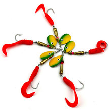 New 5Pcs/Set 10.5cm Single Hook Spinner Fishing Baits Artificial Peche Wobble Bass Metal Golden Red Spoon Lures Fishing Hook(China)