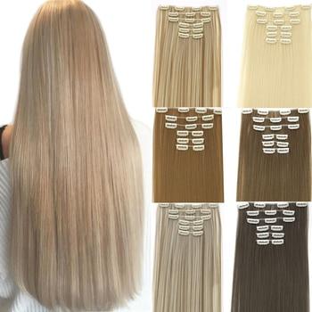 """MUMUPI 6 unids/set 22 """"postizo 140G recto 16 Clips en falso peinado pelo Clip sintético en extensiones de cabello resistente al calor"""